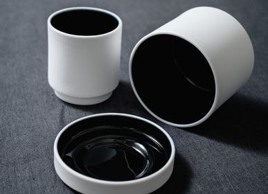 Mugs - Black & White Colonnade Cups - MAISON MALEH