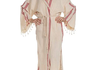 Bath towels - BUSE HOODED BATHROBE DRESSING GOWN COTTON HANDLOOMED  - LALAY