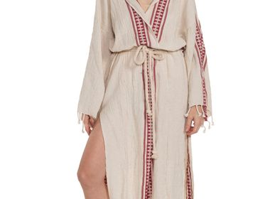 Bath towels - ANTIQUE02 HOODED BATHROBE DRESSING GOWN LINEN COTTON HANDLOOM - LALAY
