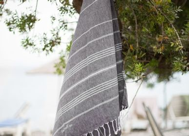 Other bath linens - Hammam Towel Anthracite in organic cotton GOTS certified - LESTOFF FRANCE