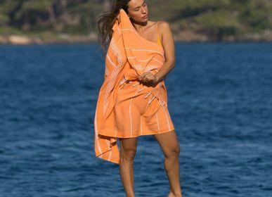 Other bath linens - Hammam Towel Orange in organic cotton GOTS certified - LESTOFF FRANCE