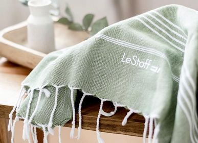 Other bath linens - Hammam Towel Olive in organic cotton GOTS certified - LESTOFF FRANCE