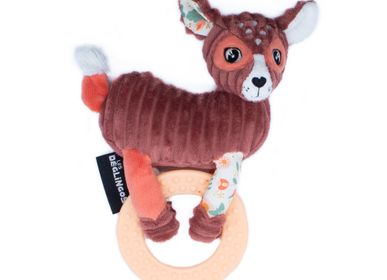 Childcare  accessories - PLUSH WITH BIG TEETHING RING MELIMELOS THE DEER - LES DEGLINGOS