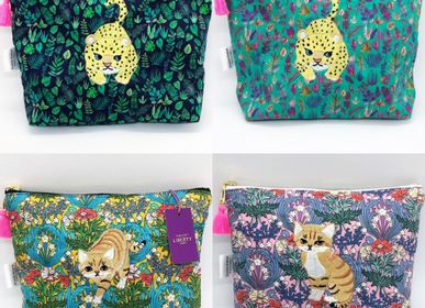 Clutches - Embroidered Liberty Print Fabric Pouch Baby-Leopard, Sand Cat - KEORA KEORA GOODS JP