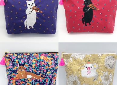 Clutches - Embroidered Liberty Print Fabric Pouch Violin Cat, Caracal, Java sparrow - KEORA KEORA GOODS JP