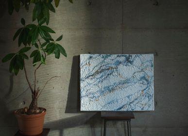 Autres décorations murales - MARBRE Panneaux d'art Washi faits main - AWAGAMI
