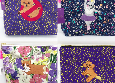 Clutches - Embroidered Liberty Print Fabric Pouch Toy-poodle bastards, Rabbit ballerina, Prince corgi, Toy-poodle witch  - KEORA KEORA GOODS JP