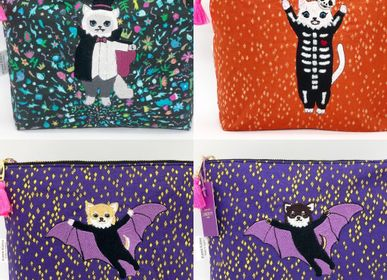 Clutches - Embroidered Liberty Print Fabric Pouch - Himalayan Dracula, Bone costume cat,  Chihuahua Batman Choco, Chihuahua Batman Beige - KEORA KEORA GOODS JP