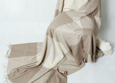 Homewear - Blanket & Plaid in tile pattern cashmere, Mongolia  - AZZA DESIGN STUDIO ORGANIC CASHMERE MONGOLIE