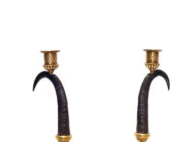 Unique pieces - Pair of gambock horns, candle sticks - DUPONT BERLIN