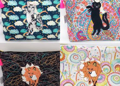 Gifts - Embroidered Liberty Print Fabric Pouch Japanese 2tailed 'Yokai' cat & 9 tailed 'Yokai' fox  - KEORA KEORA GOODS JP
