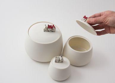 Céramique - Grande boite en porcelaine avec maisons miniatures - BÉRANGÈRE CÉRAMIQUES