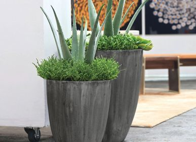 Pottery - SAND FIBER - Tall Vertical Scratched Planter - NEXX DECOR LTD