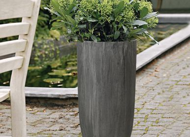 Pottery - SAND FIBER - Tall Straight Vertical Scratched Planter - NEXX DECOR LTD