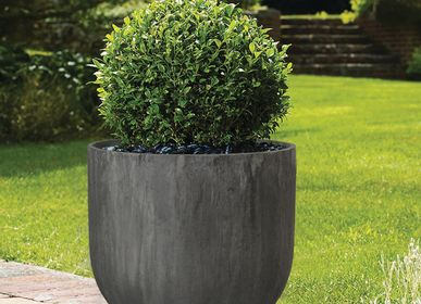 Ceramic - SAND FIBER - Straight Vertical Scratched Planter - NEXX DECOR LTD
