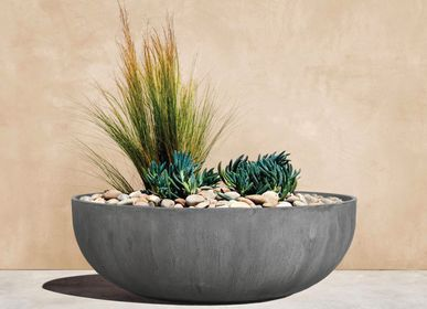Pottery - SAND FIBER - Low Round Vertical Scratched Planter - NEXX DECOR LTD
