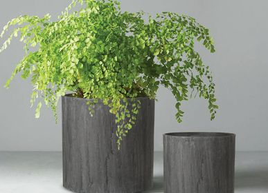 Pottery - SAND FIBER - Cylindrical Shape Vertical Scratched Planter - NEXX DECOR LTD