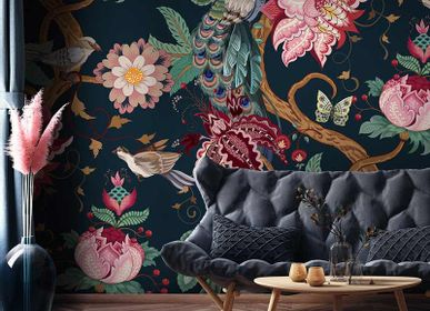 Wallpaper - Large Flowers and Birds Pavo Wallpaper Mural - LA MAISON MURAEM