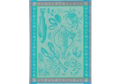 Tea towel - Seafood Blue/Jacquard Tea Towel - AUTREFOIS DÉCORATION