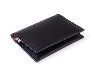 Petite maroquinerie -  Multi Card Black/Tan - Porte-cartes pliable avec doublure RFID intérieure invisible - MLS-MARIELAURENCESTEVIGNY