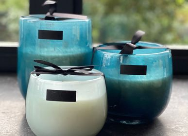 Candles - Blue mouth-blown glass candle - OSCAR CANDLES
