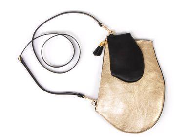 Sacs et cabas - Zip XL Gold edition - Grande pochette plate en cuir de haute qualité avec bandoulière ajustable et amovible - MLS-MARIELAURENCESTEVIGNY