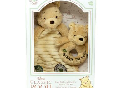 Gifts - Birth set flat comforter and ring rattle Winnie La Forêt des dreams bleu - PETIT POUCE FACTORY
