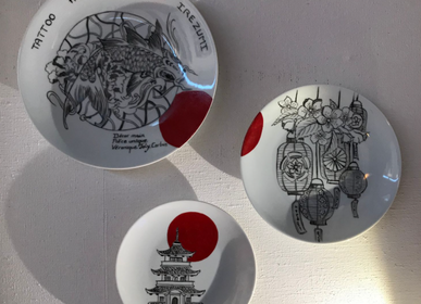 Other wall decoration - Wall installation of illustrated plates JAPAN - VERONIQUE JOLY-CORBIN