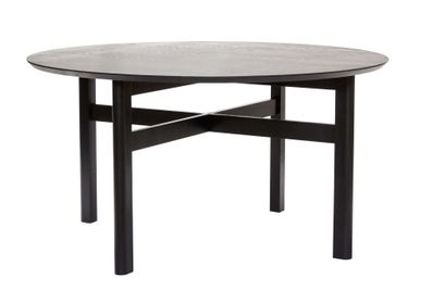 Dining Tables - Dining table, round, ash, black - HÜBSCH