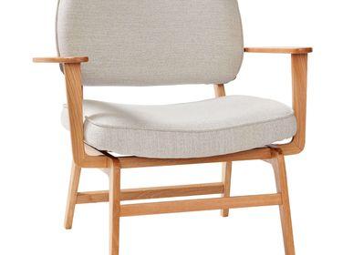 Chaises longues - Chaise longue, polyester/chêne, FSC, nature/gris - HÜBSCH