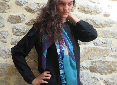 Scarves - Stoles printed on silk/wool or light wool - SUPPLEMENT D'AM / ÉTOLES ET SACS
