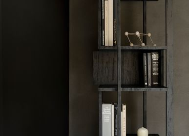 Bookshelves - Teak Abstract black column - ETHNICRAFT