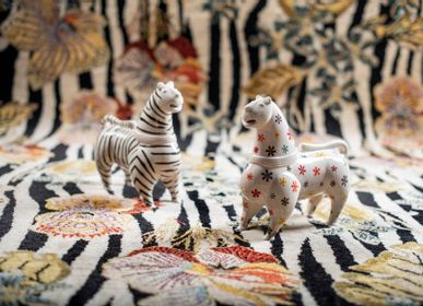 Decorative objects - Zebra & Forget-Me-Not Lions on Zebras amidst Blooms 2 - ZOLLANVARI INTERNATIONAL