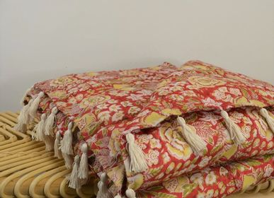Throw blankets - Indian Cotton Bed Throw - MAISON VELVETY