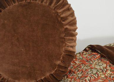 Coussinstextile - Coussin rond  garni en velours plissé - MAISON VELVETY