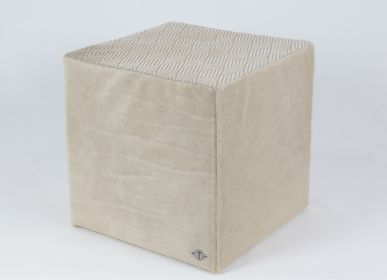 Ottomans - Beige Cowhide Beanbag Large Diamonds - TERGUS