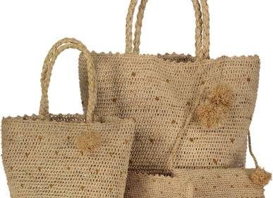 Sacs et cabas - Sac & cabas en raphia naturel- crochetée  à pois or à la main - OBI OBI