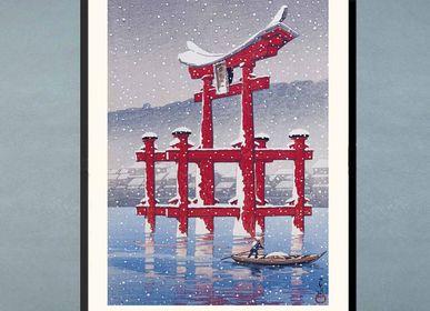 Affiches - Estampe japonaise paysage Neige sur Miyajima de Kawase Hasui prêt-à-encadrer 30x40 cm - BILLPOSTERS