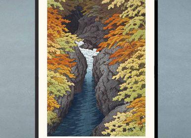 Affiches - Estampe japonaise paysage La Gorge d'Azuma de Kawase Hasui prêt-à-encadrer 30x40 cm - BILLPOSTERS