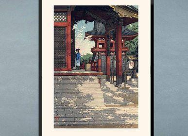 Chambres d'hôtels - Estampe japonaise paysage Temple de Fudo à Meguro prêt-à-encadrer 30x40 cm - BILLPOSTERS