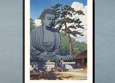 Affiches - Estampe japonaise paysage Le Grand Bouddha de Kamakura prêt-à-encadrer 30x40 cm - BILLPOSTERS