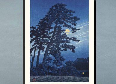Affiches - Estampe japonaise paysage Lune à Umagome de Kawase Hasui prêt-à-encadrer 30x40 cm - BILLPOSTERS
