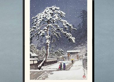Poster - Japanese print landscape The Honmonji Temple Ikegami from Kawase Hasui ready to be framed 30x40 cm - BILLPOSTERS