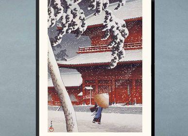 Affiches - Estampe japonaise paysage Le Temple Zojoji à Shiba de Kawase Hasui prêt-à-encadrer 30x40 cm - BILLPOSTERS