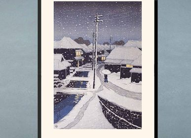 Poster - Japanese print landscape Snow at night in Terajima village from Kawase Hasui ready to be framed 30x40 cm - BILLPOSTERS