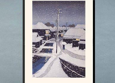 Affiches - Estampe japonaise paysage Soir de neige au village de Terajima de Kawase Hasui prêt-à-encadrer 30x40 cm - BILLPOSTERS