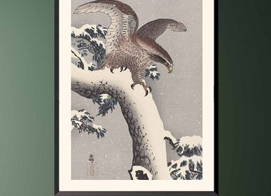 Poster - Japanese print birds Eagle from Ohara Koson ready to be framed 30x40 cm - BILLPOSTERS
