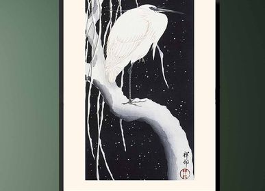 Poster - Japanese print birds Great Egret from Ohara Koson ready to be framed 30x40 cm - BILLPOSTERS