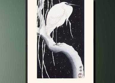 Affiches - Estampe japonaise oiseaux Aigrette de Ohara Koson prêt-à-encadrer 30x40 cm - BILLPOSTERS
