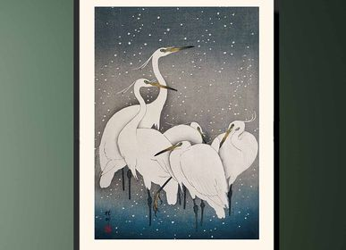Poster - Japanese print birds Little Egrets from Ohara Koson ready to be framed 30x40 cm - BILLPOSTERS